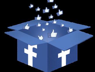 """Bild på en kartong som är öppen, på kartongens alla sidor finns Facebook loggan """"f"""" ur kartongen flyger det upp en massa """"tummen upp"""""""