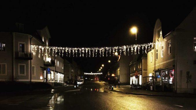 Bild på julgransbelysningen i Fellingsbro